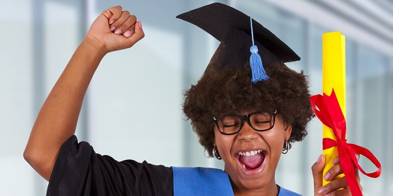Young Female Graduate Cheering and Holding Diploma